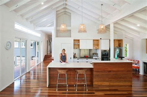 White Wood with clerestory windows exposed beams exposed