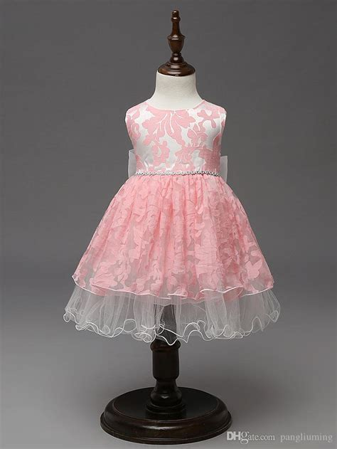 2019 High Quality Unique Baby Frock Design Pink Color Net